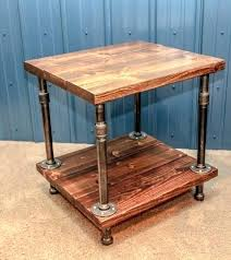 rustic end tables side table industrial wood and pipe wooden coffee medium size of