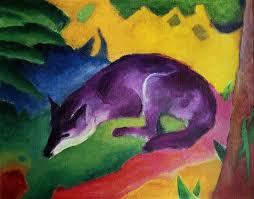 blue fox painting blue fox by franz marc