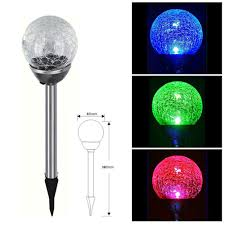 low power comcuption rgb color changing glass ball led lawn lamp for path garden courtyard solar