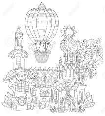 かわいいおとぎ話町の落書きをベクトルしバルーンを空気しますベクトル線図はがき印刷や大人の塗り絵