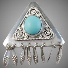vintage israel sterling silver turquoise pendant brooch antiquesilverboxes ruby lane