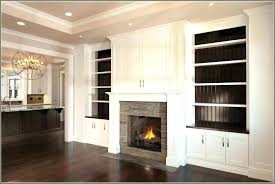 white shelves around fireplace
