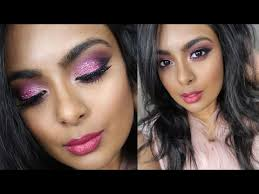 valentine s day sparkly pink makeup y glamorous date night makeup on tan brown indian