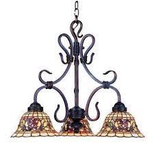 tiffany buckingham 3 light vintage antique chandelier with tiffany glass shades