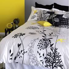 black white and yellow bedding from bliss living