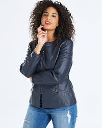 womens oasis curve faux leather collarless jacket coats and jackets navy boqg60805