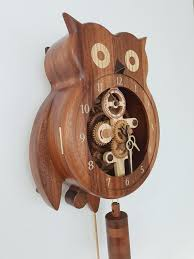wooden wall clock owl steampunk