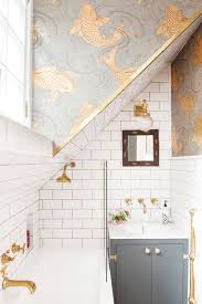 bathroom tiles wallpaper. Metro Tiles, Brass Taps And Osborne \u0026 Little Koi Carp Fish Wallpaper In The Pink House Bathroom Tiles