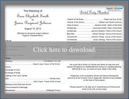 wedding party program templates free wedding program templates lovetoknow