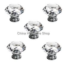 Whole 5Pcs Clear Crystal Glass Kitchen Door Pull Handles Cabinet Drawer Knob  Furniture Hardware 40mm