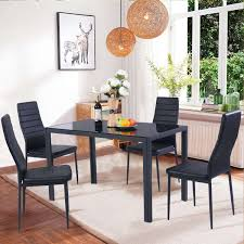 glass dining table set 4 chairs beautiful costway