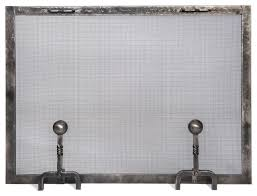 forged iron fireplace screen with ball andiron feet small traditional fireplace screens