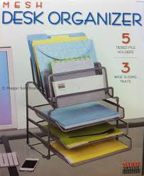 seville classics mesh desk organiser with 3 trays 5 tiered file letter holder