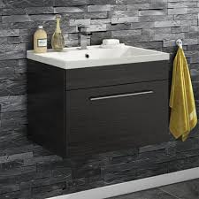 vellamo aspire 600mm wall mounted 1 drawer vanity unit basin black ash