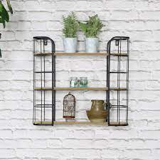 rustic industrial metal wall shelves