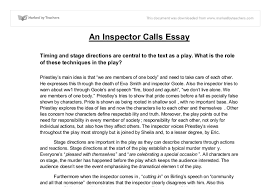 an inspector calls essay timing and stage directions are central  document image preview