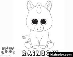 Beautiful Looking Unicorn Rainbow Coloring Page Beanie Boo Free