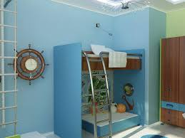 cool bedrooms for kids. Bedroom:Enchanting Beach Theme Blue Bedroom For Kids With Modern Bunk Bed And Chrome Stair Cool Bedrooms C