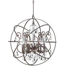 crystorama solaris 6 light crystal bronze sphere chandelier i