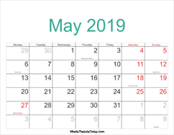 Calendar 2019 Printable With Holidays 2019 Printable May Calendar With Notes Whatisthedatetoday Com