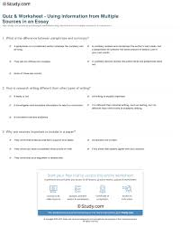 quiz worksheet using information from multiple sources in an  print how to use information from multiple sources in an essay worksheet