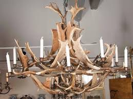 european fallow deer antler chandelier by stan hughes for guinevere in excellent condition for in