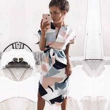 <b>2019 Hot Sale</b> Women Midi Party Dresses Geometric Print <b>Summer</b> ...