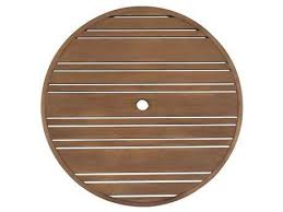 woodard extruded aluminum tri slat 60 round table top with umbrella hole