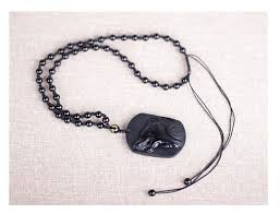 black obsidian carving wolf head amulet pendant free necklace obsidian blessing lucky pendant jewelry for men alizbay canada