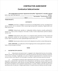 Subcontractor Agreements Sample Subcontractor Agreement 100 Examples in PDF Word 2