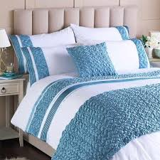 riva home macy pleated pocket duvet cover set white duck egg blue super