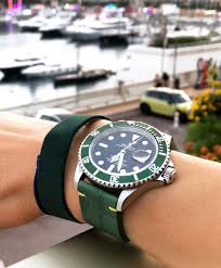 green jungle alligator leather strap 20mm rolex submariner style fixed buckle