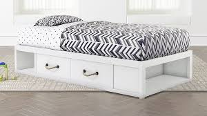 Topside White Twin Bed with Storage + Reviews | Crate and Barrel
