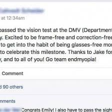 Eye Exam Chart For Dmv Back To 20 20 Emily Passes Dmv Vision Test Endmyopia