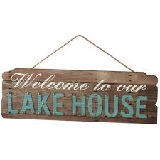 welcome to our lake house wall decor with