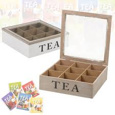 details about 9 section wooden tea box hinged glass white brown lid storage box kitchen home