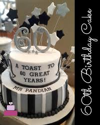 60th Birthday Cake In Black And Silver
