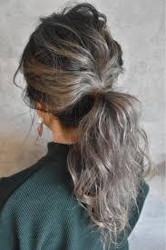 外国人風カラーポニーアレンジ ブリーチしている髪が伸びてきている方