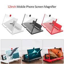 12 inç 3D cep telefonu ekran büyüteci HD Video amplifikatör ile  katlanabilir tutucu büyüteç cam akıllı telefon standı braketi Magnifiers