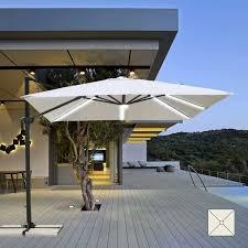 garden parasol with led solar light 3x3 square aluminum arm paradise pa303uvl parasol with