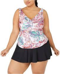 Plus Size Captiva Paisley Ruffled Tankini Top Swim Skirt