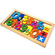 Đồ chơi thông minh khay chữ số in hoa văn bằng gỗ đẹp, an toàn cho bé