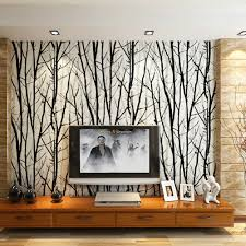 Abstract Tree Branches Wallpaper Roll 3D Modern Stripe PVC Wall Paper for  Living Room TV Background