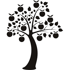 apple tree clipart black and white. international decor: modern tree wall decals apple clipart black and white