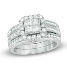 1 1 2 Ct T W Quad Princess Cut Diamond Frame Bridal Set In 14k White Gold Zales Outlet