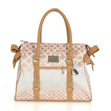 Coach Knitted Signature Large Apricot Satchels ERN