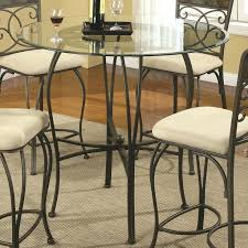 round dining table metal base counter height glass top with