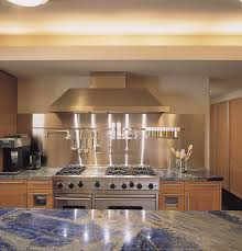 View in gallery Stainless steel backdrop in a kitchen with blue countertops