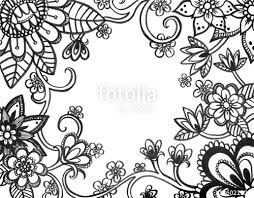 coloring book page of abstract flower doodles on border hand drawn flowers sketched in