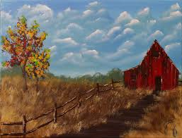 autumn barn step by step acrylic painting on canvas for beginners you